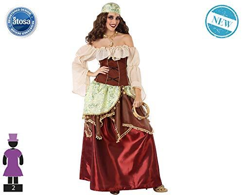 Atosa-61562 Atosa-61562-Disfraz Gitana-Adulto Mujer, Color marrón, XS a S (61562 , color/modelo surtido