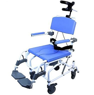 Tilt Shower Commode Bath Toilet Transport Chair with 5