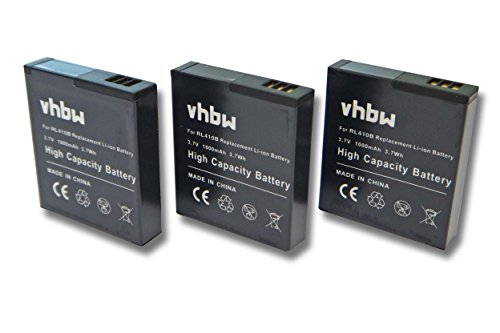 vhbw 3X Li-Ion Akku 1000mAh (3.7V) passend für Kamera Camcorder Video Maginon Action Cam AC-800W