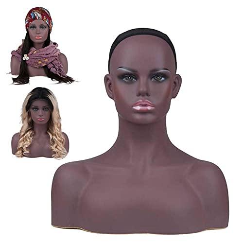 RUIXFLR Tête De Modèle Féminin avec épaule, Tête De Mannequin en PVC, Accessoires D'affichage De Vitrine pour Perruque Chapeau écharpe Collier Boucles d'oreilles, 2