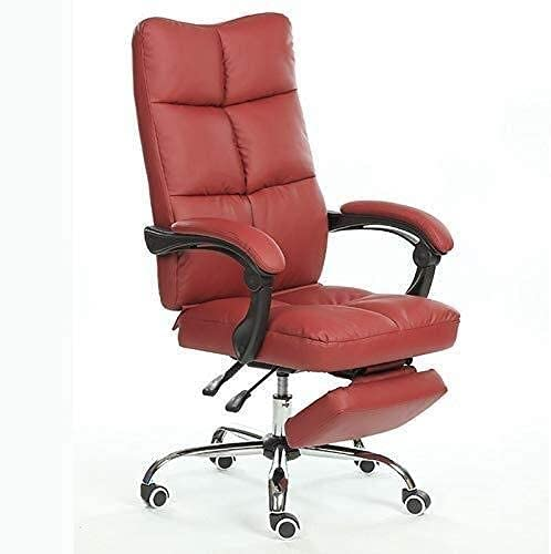 JYHQ Silla ergonómica giratoria de oficina, silla de oficina con respaldo alto de malla, sillón reclinable con reposabrazos y reposapiés de altura ajustable (color: rojo)