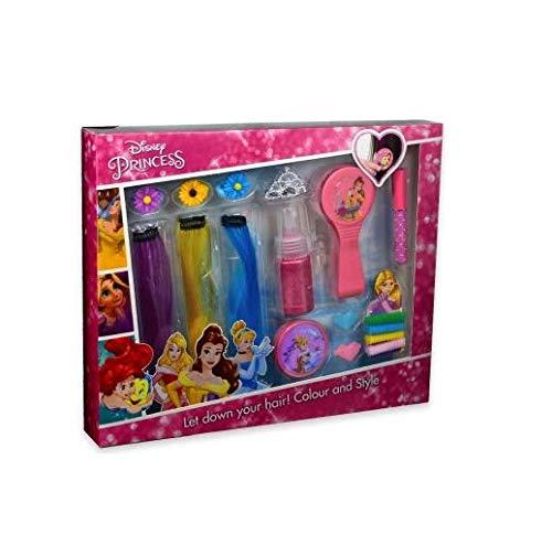 Markwins Cooles 16-teiliges Haar-Styling-Set für Fans der Disney-Prinzessinnen Arielle, Belle, Cinderella und Rapunzel (bunte Haar-Extensions, u.v.m.)
