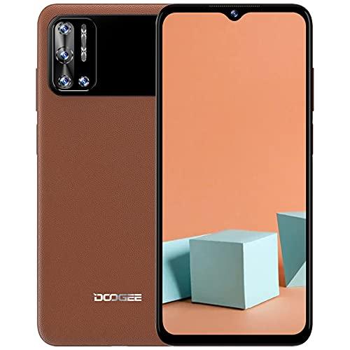 Smartphone Ohne Vertrag, DOOGEE N40 Pro (2021) Handy Ohne Vertrag, 6GB RAM + 128GB, Octa Core, 6.52'' Simlockfreie Handys, 6380 mAh Akku, 20MP Quad Kamera, Android 11 Smartphones, Face ID, OTG - Braun