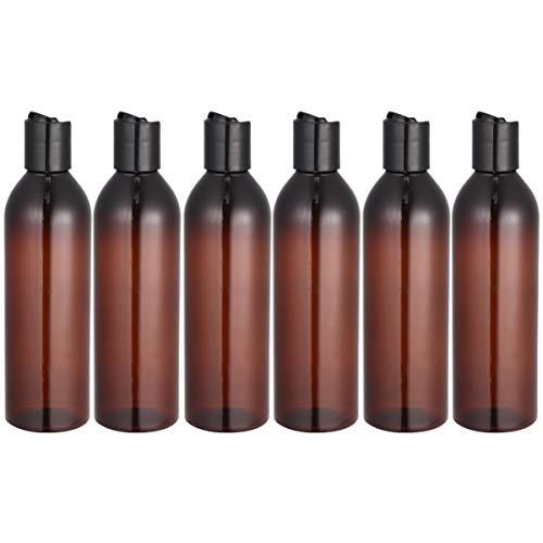 Beaupretty - Juego de 6 botellas de plástico de 250 ml con tapa de prensa, botellas de viaje, loción vacía portátil (transparente), marrón (Marrón) - YOU830KV1I20DDB19ZD