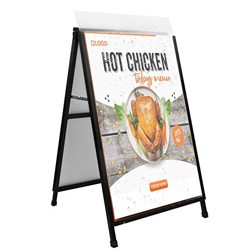 """JUNJIAO A Frame Sign Heavy Duty Standing Sidewalk Sign Sandwich Board for 24""""x36"""" Poster Board Double Sided Display Foldable with 2 Backboard and 2 PVC Faceboard Weather Resistant Does Not Fall with Winds"""
