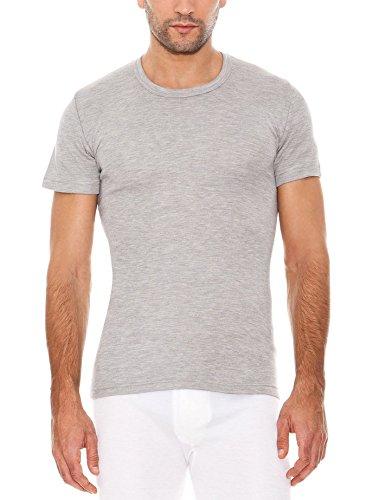 ABANDERADO Camiseta Termal Manga Corta Cuello Redondo de Fibra acrílica térmica, Gris, M para Hombre