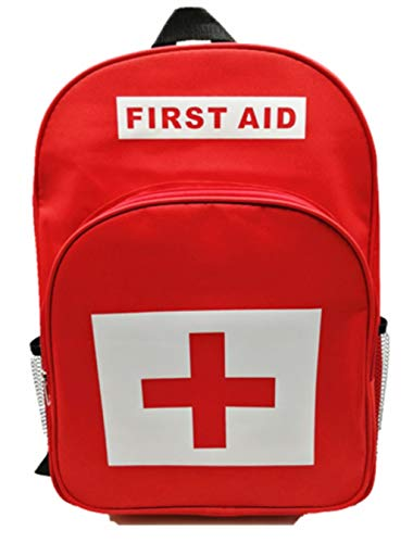 Jipemtra First Aid Backpack Empty Medical First Aid Bag Red Emergency Treatment First Responder Trauma Bag for Preschool Child Care Center Field Trips Camping Daycare (Red Backpack)
