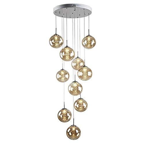 Lampadario moderno Lampadario di cristallo Palla Paralume in vetro Cucina Isola Corridoio Plafoniera LED Lampadina G14 10 luci