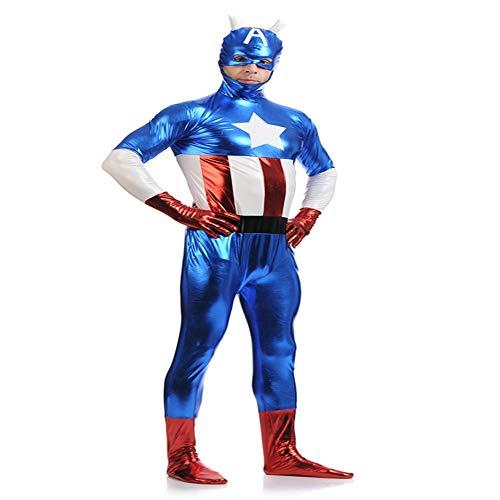 YXIAOL Avengers Captain America Captain,Superheldenkostüm,Filmcharakter-Aufführungskostüm,Halloween-Partykleid,3D-Lycra-Strumpfhose-Erwachsene/Kinder,Child-M