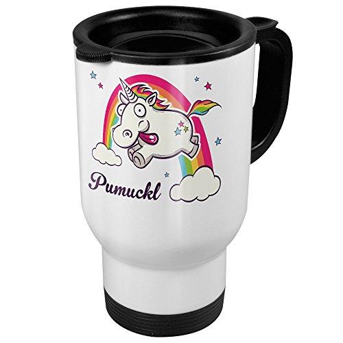 printplanet Thermobecher weiß mit Namen Pumuckl - Motiv Verrücktes Einhorn - Coffee to Go Becher, Thermo-Tasse