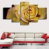 LWJPD Cuadro en Lienzo 5 Partes Rosa Amarilla De Cerca Hermosas Flores Arte De Pared Moderno Foto Lienzo Pintura Decoración para El Hogar Cartel Moderno Sin Marco 60 Inch