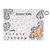 Disney Lion King Simba, Grey, White & Tan Super Soft Milestone Baby Blanket, Grey, White, Charcoal, Tan