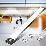Mirapretty Luz Armario, Luces Armarios con sensor Movimiento USB Recargable 72LED Armario Luz Nocturna Para Armario, Cocina,Escalera, Pasillo(luz blanca)