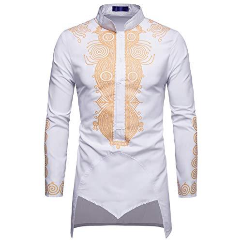 ZCZH Men's Shirt Long Sleeve Print Long Shirts Autumn Casual Button Lapel Denim Jacket Spring Irregular Hem Pullover Shirts Tops 3XL