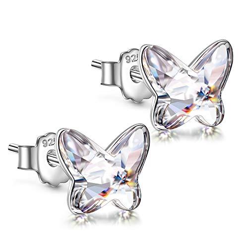 ANGEL NINA Pendientes Mujer Plata de Ley 925 con Cristal de Austria Pendientes Niña Antialergicos...