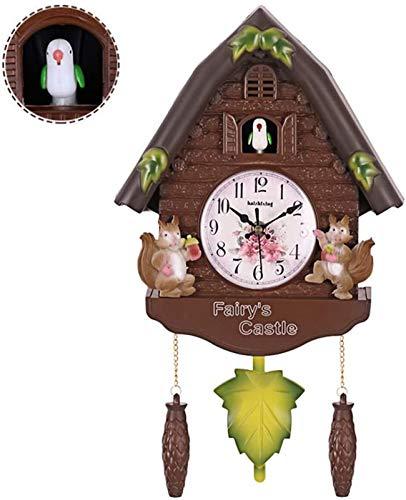 ZJWD Reloj De Cuco Reloj De La Selva Negra con Péndulo, Reloj De Pared con Forma De Pajarera con Voces De Pájaros Naturales, Reloj para Habitación Infantil,A