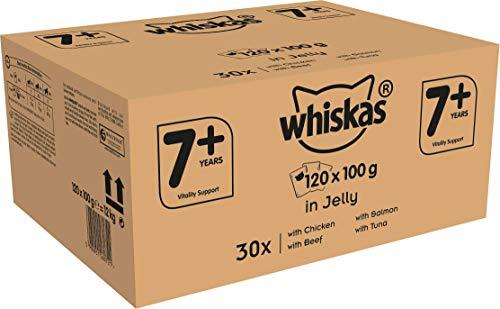 Whiskas 7 + Katzenfutter, Hochwertiges Nassfutter für gesundes Fell, Feuchtfutter in verschiedenen Geschmacksrichtungen