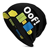 LSDZW OOF Ro-blox Oof Meme Gaming Noob for Kids Knit Hats Unisex Adult Soft Slouchy Beanie Hat Winter Warm Printing Skull Cap