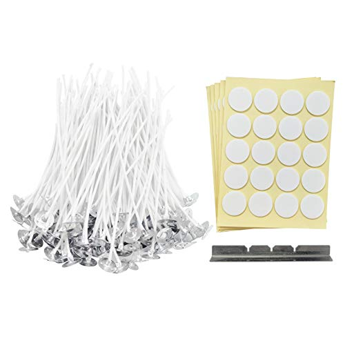 100 Pcs 4 inches Cotton Candle Wicks with Candle Wick Stickers and Centering Device for Candle DIY, Candle Making Kit