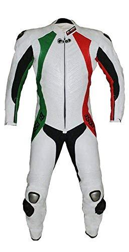 BIESSE - Tuta da MOTO intera in vera pelle bovina, ideale per uso professionale in pista. Modello Tricolore (Verde/Bianco/Rosso, 3XL)