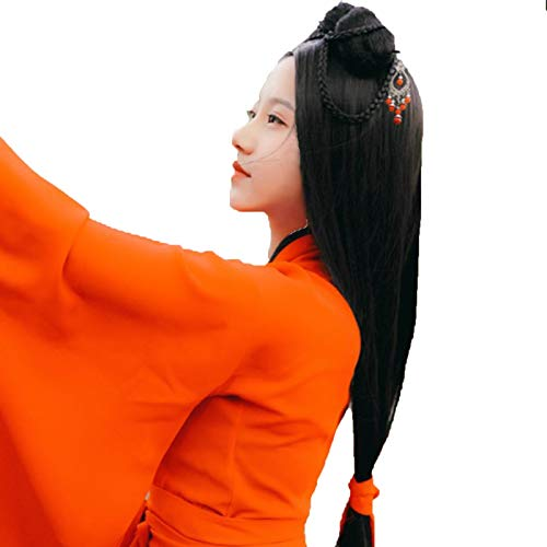 Peluca De Disfraz De Hanfu para Mujer, Peluca De Cosplay De Pelo Largo Negro para Niña China Antigua