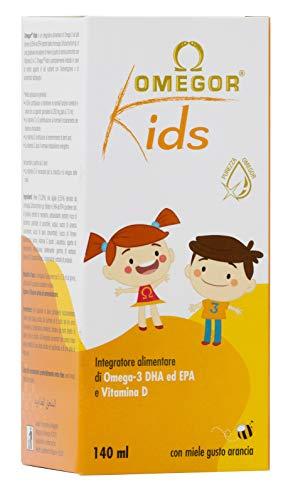 OMEGOR Kids con omega-3 DHA vegetale per bambini | 250mg di DHA e 125mg di EPA da olio algale | Squisita emulsione di miele e succhi di frutta | Con vitamina D3 | Flacone in vetro 140ml con cucchiaio