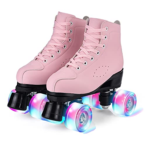YUDOXN Pattini a 4 ruote, pattini paralleli con ruote luminose, top alto classico, pattini a rotelle per adulti, bambine, bambini e principianti, taglia 37-43 (rosa, 38)