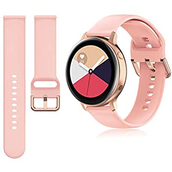 Huadea 20mm Band Compatible with Samsung Galaxy Watch Active/Active 2 40mm & 44mm / Galaxy Watch 3 41mm / Galaxy Watch 42mm / Gear Sport/Gear S2 Classic Rose Gold Watch Buckle