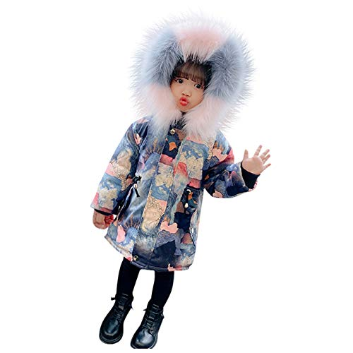 Tie Dye Fashion Little Girls Winter Coat 1-6 Years Old Baby Girls Long Sleeve Landscape Floral Printed Zipper Hooded Jacket Kids Outdoor Windproof Trench Coat Down Coat Outwear Long Padded Overcoat