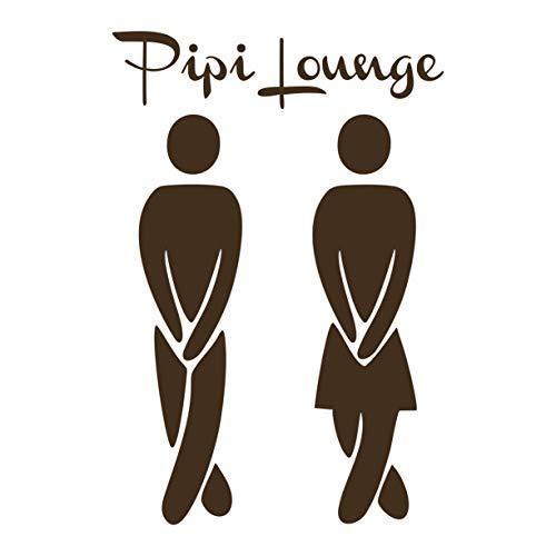 Folistick PIPI Lounge WC Aufkleber Türaufkleber Bad Flur Toilette Aufkleber (BRAUN)