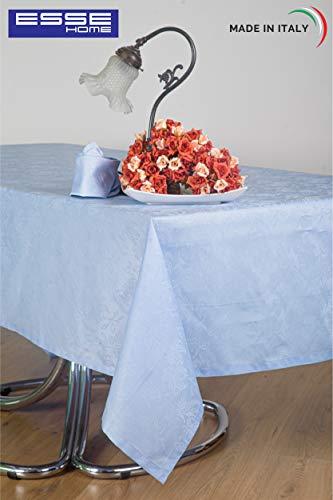 Esse Home - tafelkleed - tafelkleed - rechthoekig voor 6 personen - Jacquard Puro katoen - Made in Italy - Iris 598 (150x180, tafelkleed lichtblauw)