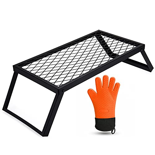 Folding Campfire Grill Grate Heavy Duty,Portable Over Fire Camp Grill For Outdoor Open Cooking With Large Mesh,Complete With 1 Silicone BBQ Glove