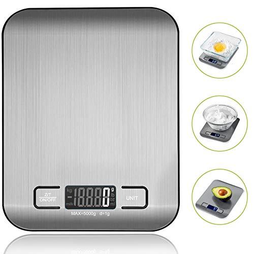 VIBOOS Küchenwaage Digitalwaage Electronische Waage für Lebensmittel, Haushaltswaage mit LCD-Display aus Edelstahl.