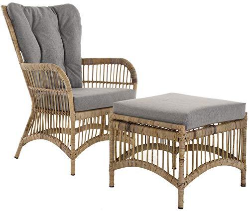 Ohrensessel/Hochlehnsessel Retro mit Hocker/Wohnzimmer- Rattan-Sessel mit hoher Rückenlehne/Hoher Korbsessel mit Eisengestell (Grau Natur)