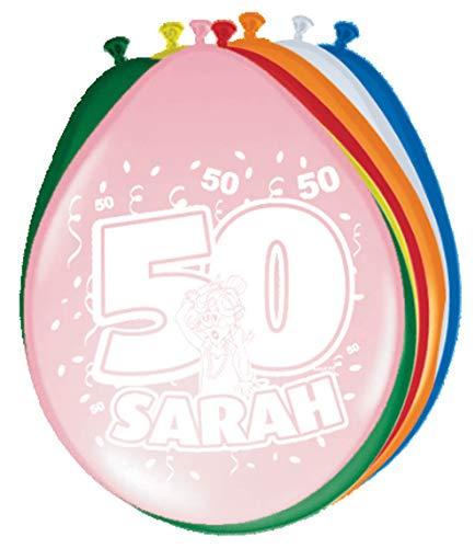 Folat 08252 50ste verjaardag Sarah ballonnen 30 cm - 8 stuks, Multi kleuren