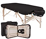 "EARTHLITE Premium Portable Massage Table Package SPIRIT - Spa-Level Comfort, Deluxe Cushioning incl. Flex-Rest Face Cradle & Strata Face Pillow, Carry Case (30/32"" x 73"") - Made in USA, Black"
