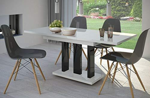 Endo-Moebel Esstisch Appia 130cm - 210cm erweiterbar ausziehbar Säulentisch Küchentisch (Weiss Hochglanz/Schwarz)