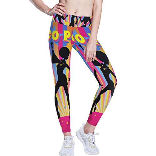 FANTAZIO Disco Party Patroon Hoge Taille Yoga Broek Tummy Controle Yoga Capris voor Vrouwen, 4 Way Stretch Capri Leggings