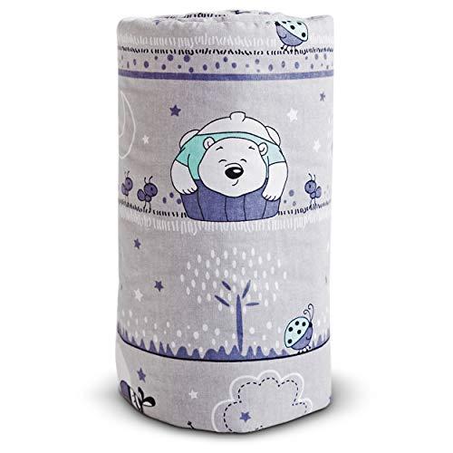 E4M® Tour de Lit Bebe - 3 Panneaux Latéraux en Coton Rembourré - Épaisseur 2.5cm, 210cm x 30cm - Hypoallergénique, Lavable, Respirant - Tissus Oeko-Tex 100 Cousus à la Main - 8 Attaches Cordon