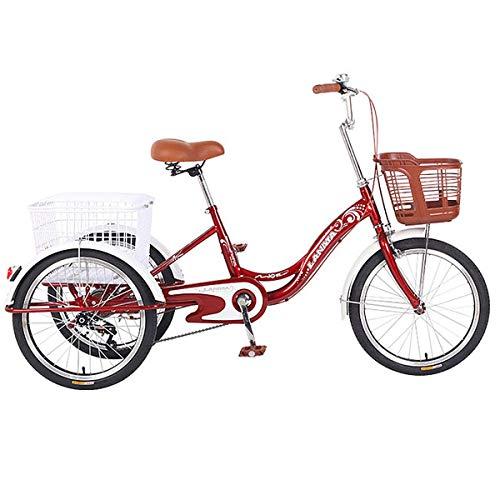 Triciclo Bicicletas con Un Pedal De Triciclo De Canasta Grande para Los Mayores Regalos De Triciclo Humanos para Padres (Color : Red)