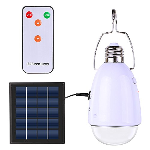 ELlight Portable LED Solar Lights with Hook, Remote Control Dimmable E27 Indoor Solar Lamp for Chicken Coop Shed Camping Tent Power Outage Home Emergency