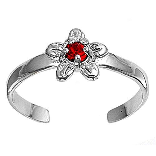 7K Zehenring aus 925 Sterling Silber als Fußschmuck für Damen, Herren und Mädchen, Größenverstellbar, roter Zirkonia Blume 3