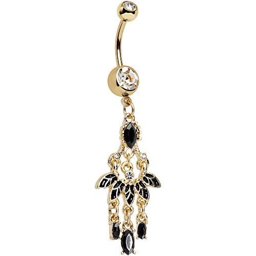 Body Candy Anodized Steel Clear Accent Black Fan Chandelier Dangle Belly Ring