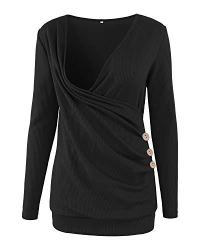 Ziola Women's Maternity Nursing Top V-Neck Long Sleeve Tunic Button Waffle Cross Wrap Breastfeeding Shirt Black