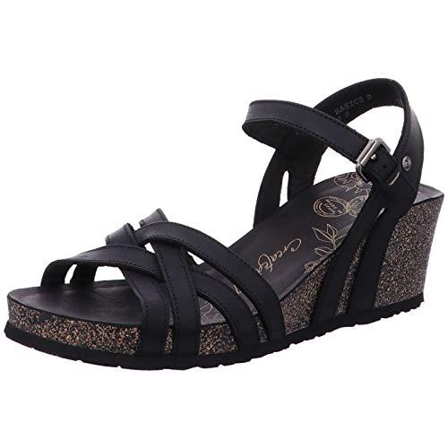 Panama Jack Damen Vera Basics Offene Sandalen mit Keilabsatz, Schwarz (Black), 37 EU