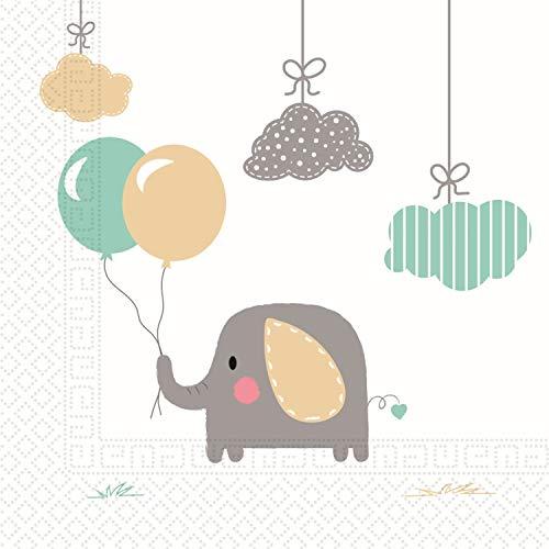 Procos 90495 Servietten Elefantenbaby, 20 Stück, weiß