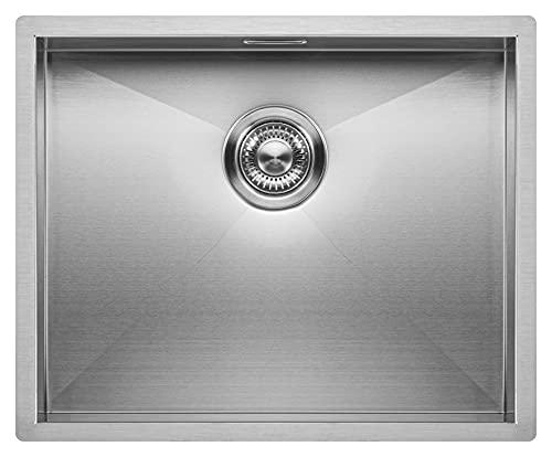 Fregadero de Cocina Mizzo Quadro | Acero Inoxidable 304 | Montaje Bajo o Sobre Encimera o al Ras | Radio 0mm | 1 Seno | Grosor Acero 1.2mm...