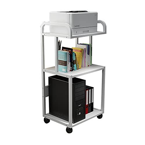LQ Inicio Impresora Stands Piso de 3 Capas Impresora de pie Stand Metal Frame Mobile Printer Sky Carpeta (Color : White)