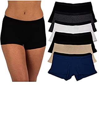 Sexy Basics Women's 6 Pack Buttery-Soft Modern Active Boy Short Boxer Brief Panties (6 Pack- Black/Nude/Charcoal/Navy/White, XXXX-Large)