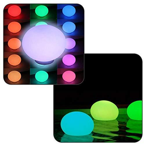 Linxor France ® Flatball, Lámpara LED flotante 35cm x 35cm x 24cm Recargable + Mando a distancia - Norma CE